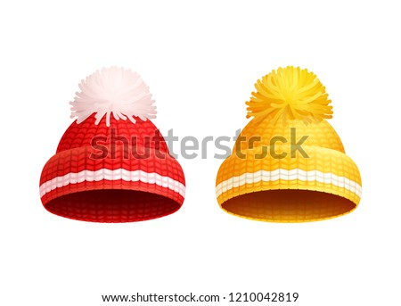 9417bee04e0f1 Knitted red and yellow hat with white pom-pom vector icons. Warm headwear  items