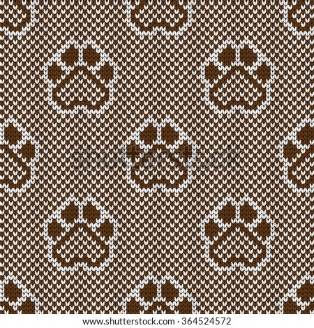 Knitted Seamless Pattern Animal Pads Stock Vector Royalty Free