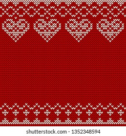 Knitted seamless pattern on red