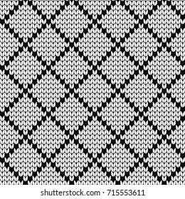 Knitted seamless pattern rhombuses