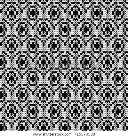 Knitted Seamless Pattern Small Flowers Stock Vector Royalty Free