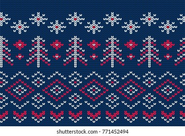 Knitted seamless pattern for sweater. Winter background vector