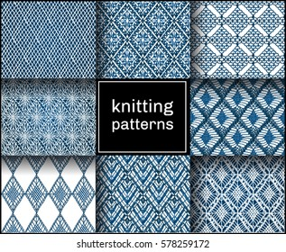 Knitted seamless patterns. Crochet mesh. Knitting or woven macrame in the bohemian style. Oriental motifs.