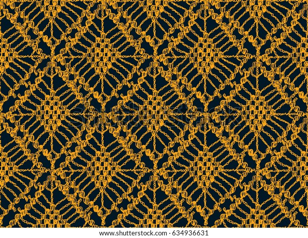 Knitted seamless patterns. Crochet mesh. Knitting or woven macrame in the bohemian style. Oriental motifs.