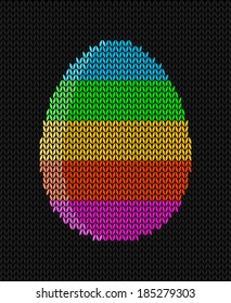 Knitted striped Easter egg on a dark background, Easter greeting card, vector illustration