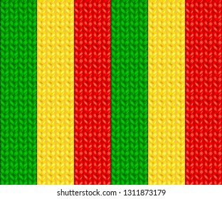 Knitted Striped Seamless Pattern of Rasta Colors. Vector Illustration.