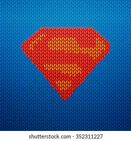 Knitted superman vector illustrated icon. Pop-art design. Hero logo for winter background.