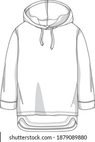 Knitted Sweat shirt style flat sketch