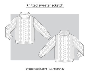 Knitted sweater with braids technical scketch.