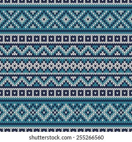 Knitted Sweater Design. Fair Isle Seamless Pattern