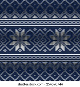 Knitted Sweater Design. Vector Seamless Pattern