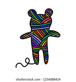 Knitted teddy bear yarn wool hand drawn illustration for prints posters t shirts background knitting courses and master classes