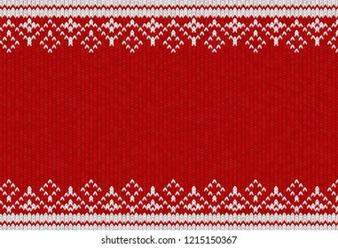 Knitted textile pattern. Vector illustration. Warm clothing texture. Red woven background with white winter ornament