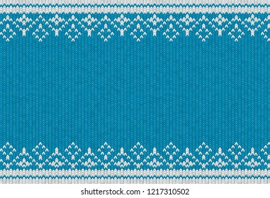 Knitted textile pattern. Vector illustration. Warm clothing texture. Blue woven background with white winter ornament. Traditional slavic or nordic knit tracery