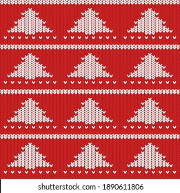 knitted texture of red color with a white pattern in the form of Christmas trees