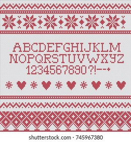 Knitted Ugly Christmas Sweater Alphabet Vector Pattern