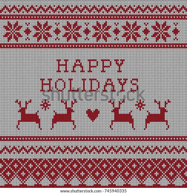 Ugly Christmas Sweater Pattern.Knitted Ugly Christmas Sweater Vector Pattern Stock Vector
