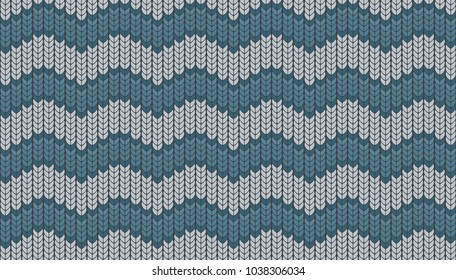 Knitted vector. Seamless pattern in the form of a waves. Background for decorative prints with imitation of a knitted sweater. Simple geometric in modern theme.