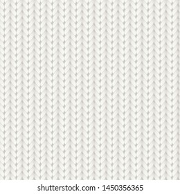 Knitted vector seamless pattern. White merino wool knit texture. Realistic warm and cozy handmade knitting background.