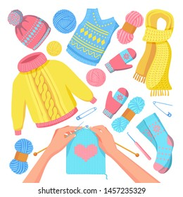 Knitted winter and autumn clothes set, isolated on white background. Knits woman, top view vector cartoon illustration. Fall handmade fashion wool clothing and accessories.