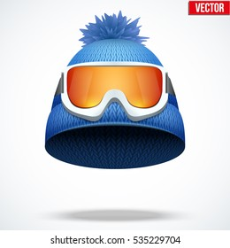 c8432fc2a1eb Knitted woolen cap with snow ski goggles. Winter seasonal sport hat. Vector  illustration isolated