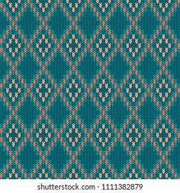 Knitted woolen seamless jacquard ornament. Vintage Blue jacquard pattern