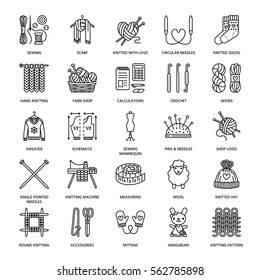 Knitting, crochet, hand made line icons set. Knit needle, hook, scarf, socks, pattern, wool skeins and other DIY equipment. Linear signs set, logos with editable stroke for yarn or tailor store
