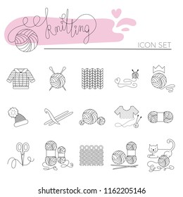 Knitting and crochet line icon set. Knitting needle, hook, hat, sweater, pattern, wool skeins, scissors and cat. Linear signs vector set and logos for yarn or tailor hand made store.