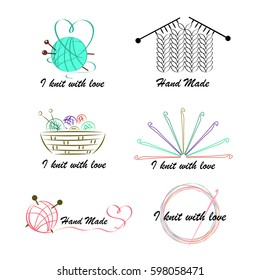 Knitting and crochet, a set of contour drawings, hand-drawn design elements. Vector illustration.