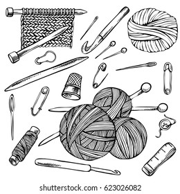 Knitting and crochet, Sketch set of contour drawings, hand drawn knitting elements.