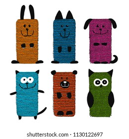 Knitting funny animals, sketch for your design