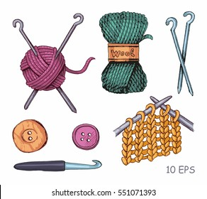 Knitting illustrations. Hand drawn needle, scissors, ball of yarn, knitting needles and crochet.