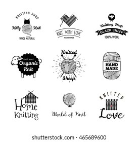 knitting label set. hand knit logo. World of knit. black sheep. knitted love. hand made knitting shop. wool natural.  home knitting and knitted sheep. heart, globe, house, sheep,