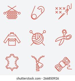Knitting and needlework icons, thin line style, flat design