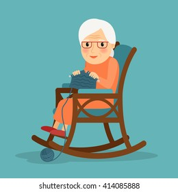 Knitting. Old woman knits. Granny knitting in her rocking chair. Vector illustration