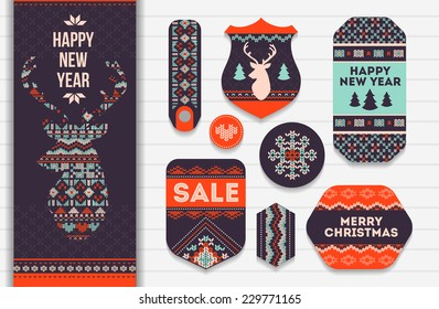 Knitting pattern elements for christmas decoration. Vector
