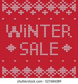 Knitting pattern on a sweater with the words Winter Sale. White letters on a red background.