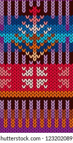 Knitting Pattern in style Fair Isle. Bright, multi-color. Seamless pattern. Needlework, handmade, manufacture of fabrics, yarn, tools for needlework. Background for invitations, packaging