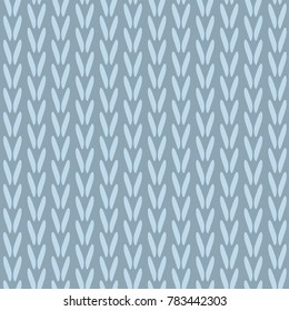 Knitting pattern tricot texture. Simple woven all over design. Cozy winter print block. Vector illustration.