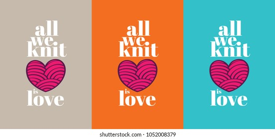 Knitting poster with heart shaped whool ball, Knitting service shop sign, Hand made seamstress design, Made with Love fashion work