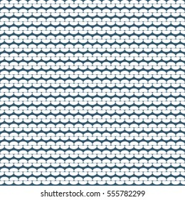 Knitting reverse side vector pattern. Knitted realistic seamless background of white color. Vector knit texture.