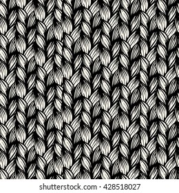 Knitting seamless pattern. Vector light seamless pattern with interweaving of thin lines.