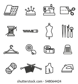Knitting, sewing and needlework line icons.