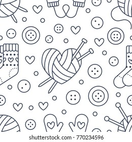 Knitting, sewing seamless pattern. Cute vector flat line illustration of hand made equipment knit needle, bottons, wool, cotton skeins. Background for yarn tailor store.