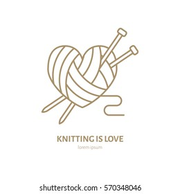 Knitting shop line logo. Yarn store flat sign, illustration of wool skeins with knitting needles