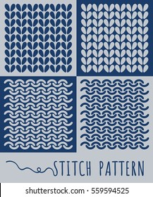 Knitting stitch pattern set. Isolated vector illustration in line style. Yarn and knitting stitch.