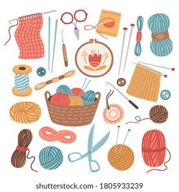 Knitting threads. Knit sewing, wool yarn balls. Isolated cartoon handicraft accessories, crochet needlework hobby tools vector illustration