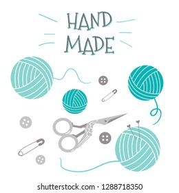 Knitting Tools: needles, yarns, scissors, pin, button. For knit crafts, hobby. Vector Set Illustration for handmade or Knitting with Ball of yarn icons. Needlework. EPS10.