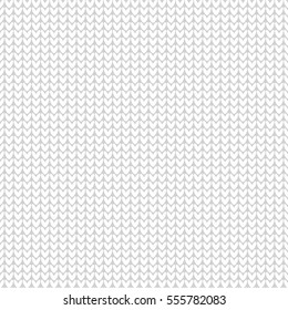 Knitting vector pattern. Knitted realistic seamless background of white color. Vector knit texture.