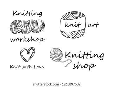 Knitting yarn logo set in hand drawn style. For shop, knitters snd creative design. Vector illustration. Isolated on white